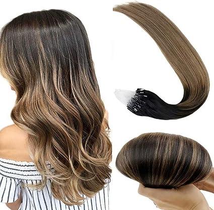 LaaVoo 35cm Beads Hair Extensiones con Mechas #1B/8/12 Balayage Natural Negro y Marrón Claro Micro Anillos Extensiones Cabello Natural 50Gramo/Paquete ...