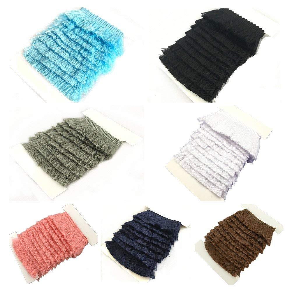 YEQIN 25mm Wide Cotton Fringe Tassel Trim 5 Yards (navy) 4337029164