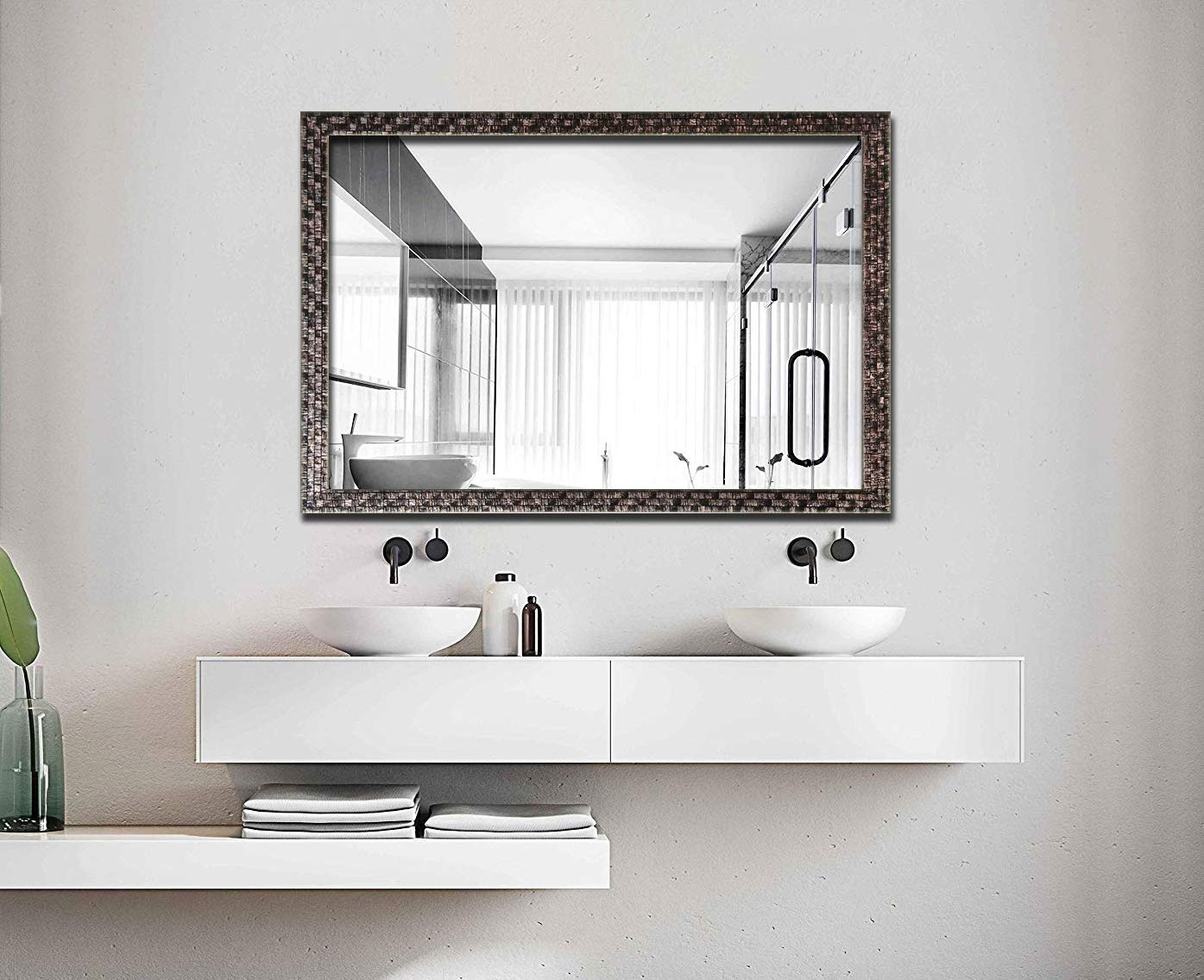 Hans Alice Large Rectangular Bathroom Mirror, Wall-Mounted Wooden Frame Vanity Mirror 38 x26 Gray-Black