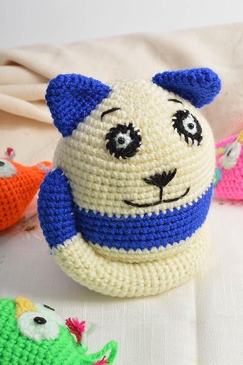 Juguete de peluche tejido a ganchillo artesanal gato blanquiazul redondo
