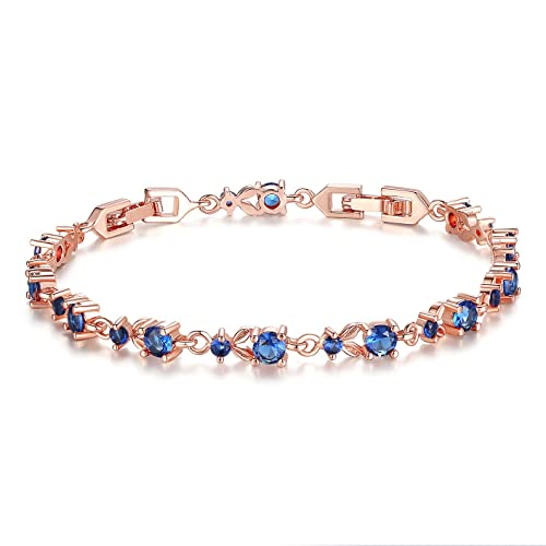 Bamoer Luxury Slender Rose Gold Plated Bracelet with Sparkling Blue Cubic  Zirconia Stones a5ef5d94e290