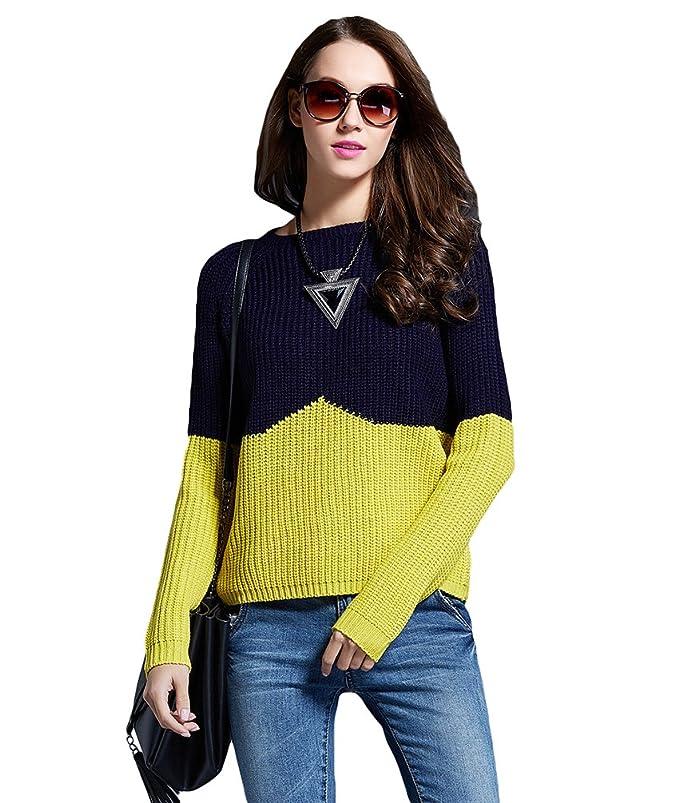 1 opinioni per CeRui Donna Sweater Maglia a Colore Contrasto Maglione  Girocollo Elegante a 3dee7575cb9
