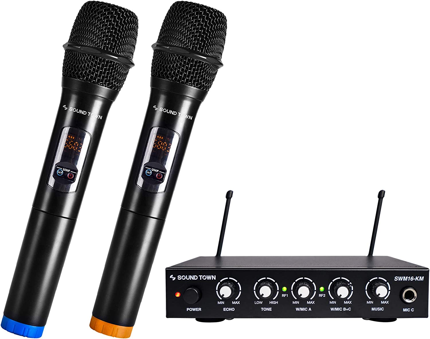 Sound Town UHF 16 Channels Karaoke Wireless Microphone System with Metal Mixer, 2 Handheld Microphones, for Church, School, Wedding, Meeting, Karaoke (SWM16-KM)