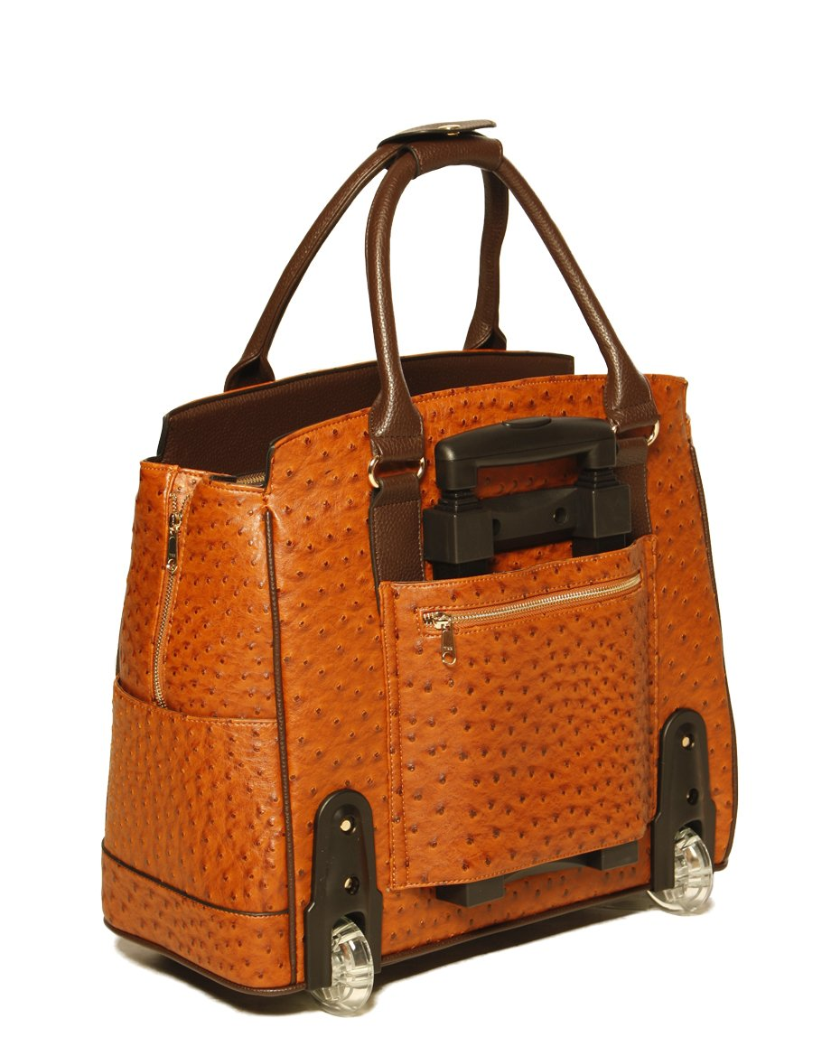 LESS THAN PERFECT - ''The Uptown'' Ostrich Computer iPad, Laptop Tablet Rolling Tote Bag Briefcase Carryall Bag by JKM and Company (Image #3)