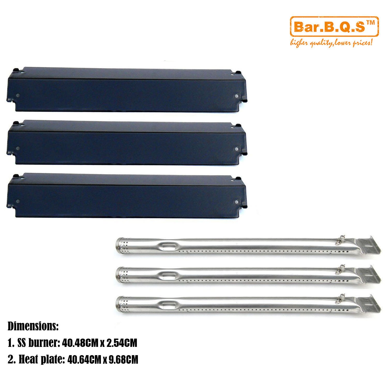 Bar.b.q.s Kit de réparation de gril Replacement Burner & Porcelain Steel Heat Plate tente, bouclier Remplacement Pour Charbroil 463247310, 463257010 Commercial Series 3 Brûleur Gaz Grill