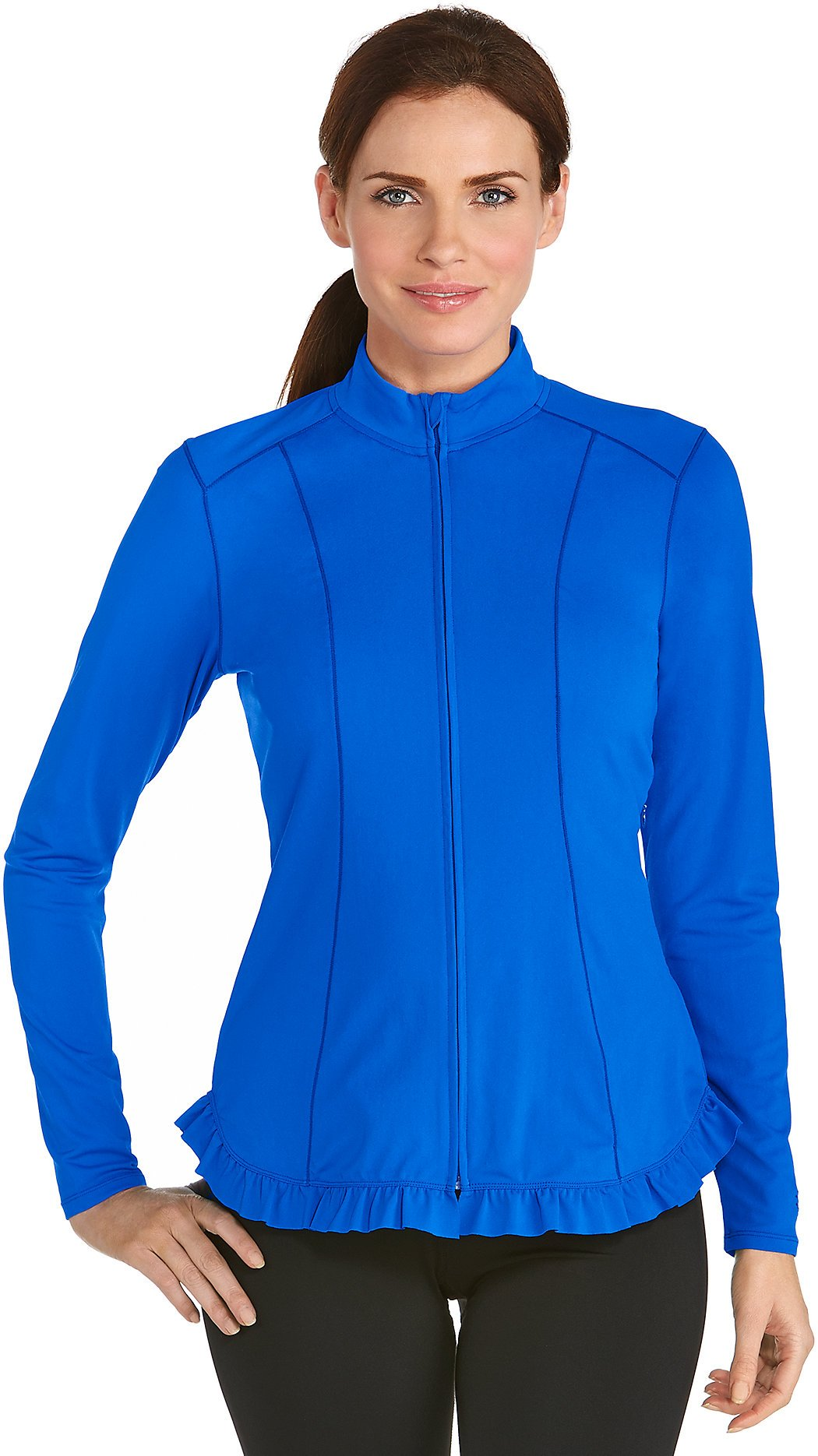 Coolibar UPF 50+ Women's Swim Jacket - Sun Protective (Medium- Baja Blue)
