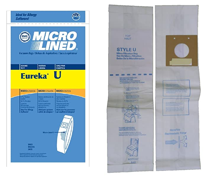 Micro Lined Anti-Bacterial Vacuum Cleaner Bags --Designed to Fit Eureka Bravo and Powerline (All Models Using Bag STYLE U), White-Westinghouse Upright (All Models Using Bag STYLE VIP 2030)--10 ct pack