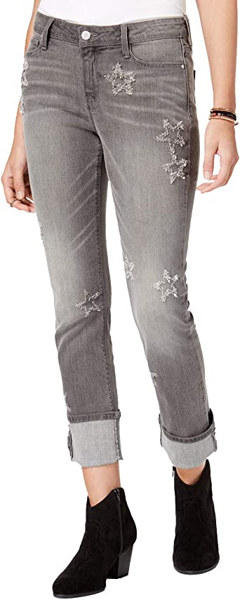 Black Daisy Juniors Kate Ripped Embroidered Skinny Jeans