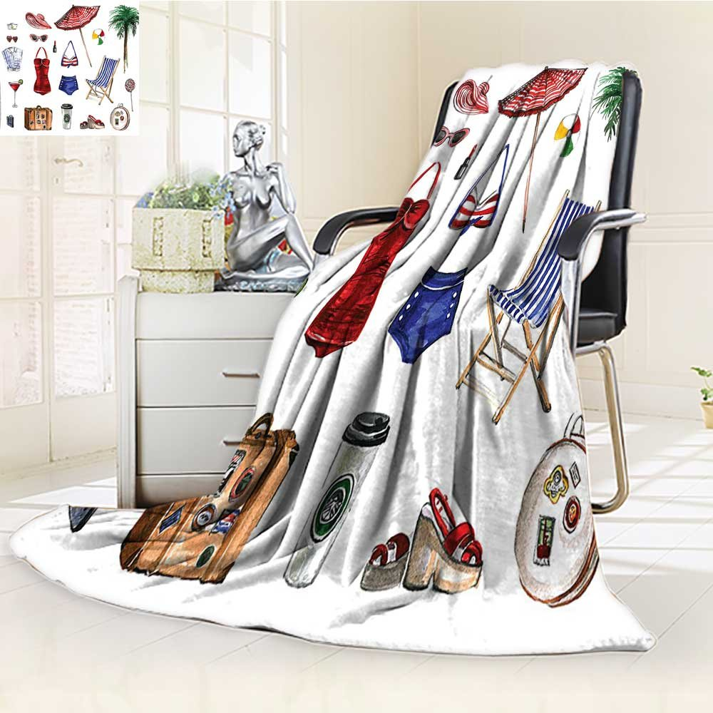 YOYI-HOME Twin Size Bed Duplex Printed Blanket s Super Soft Fashion Objects Solar Summer Hot Travel Adventure Palms Concept Picture Multi Fleece Blanket for Bed or Couch/W59 x H79