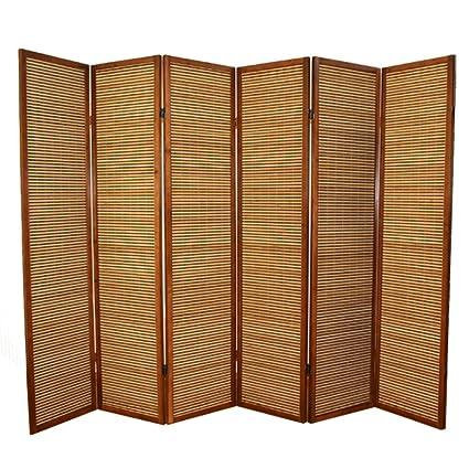 Paravento in legno marrone in bambù di 6 pannelli: Amazon.it: Casa e ...