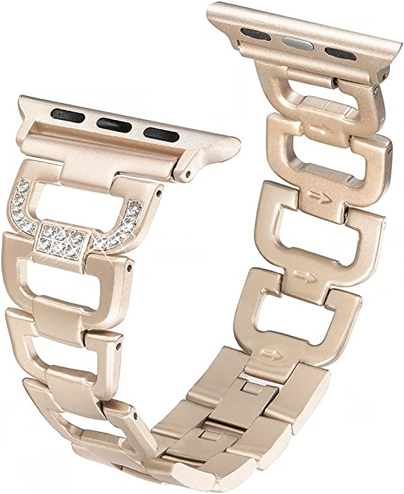 Secbolt Bling Bands Compatible Apple Watch Band 38mm 40mm iWatch Series 6 5 4 3 2 1 SE Women Dressy Jewelry D-link Stainless Steel Wristband Strap, Champagne Gold
