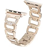 Secbolt Bling Bands for Apple Watch Band 38mm 42mm Stainless Steel Metal Replacement Wristband Sport Strap for Apple Watch Nike+, Series 3, Series 2, Series 1, Sport, Edition, 4 Colors Available