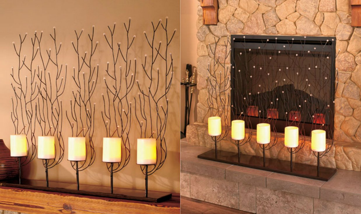 amazon com knlstore fireplace screen with led ivory candles w