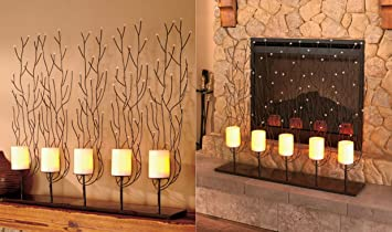 KNLSTORE Fireplace Screen with LED Ivory Candles w/ Timer Decor Metal  Branch Backdrop Candle Light