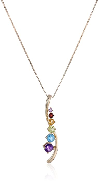 Amazon 10k yellow gold multi gemstones journey pendant necklace 10k yellow gold multi gemstones journey pendant necklace 18quot aloadofball Images