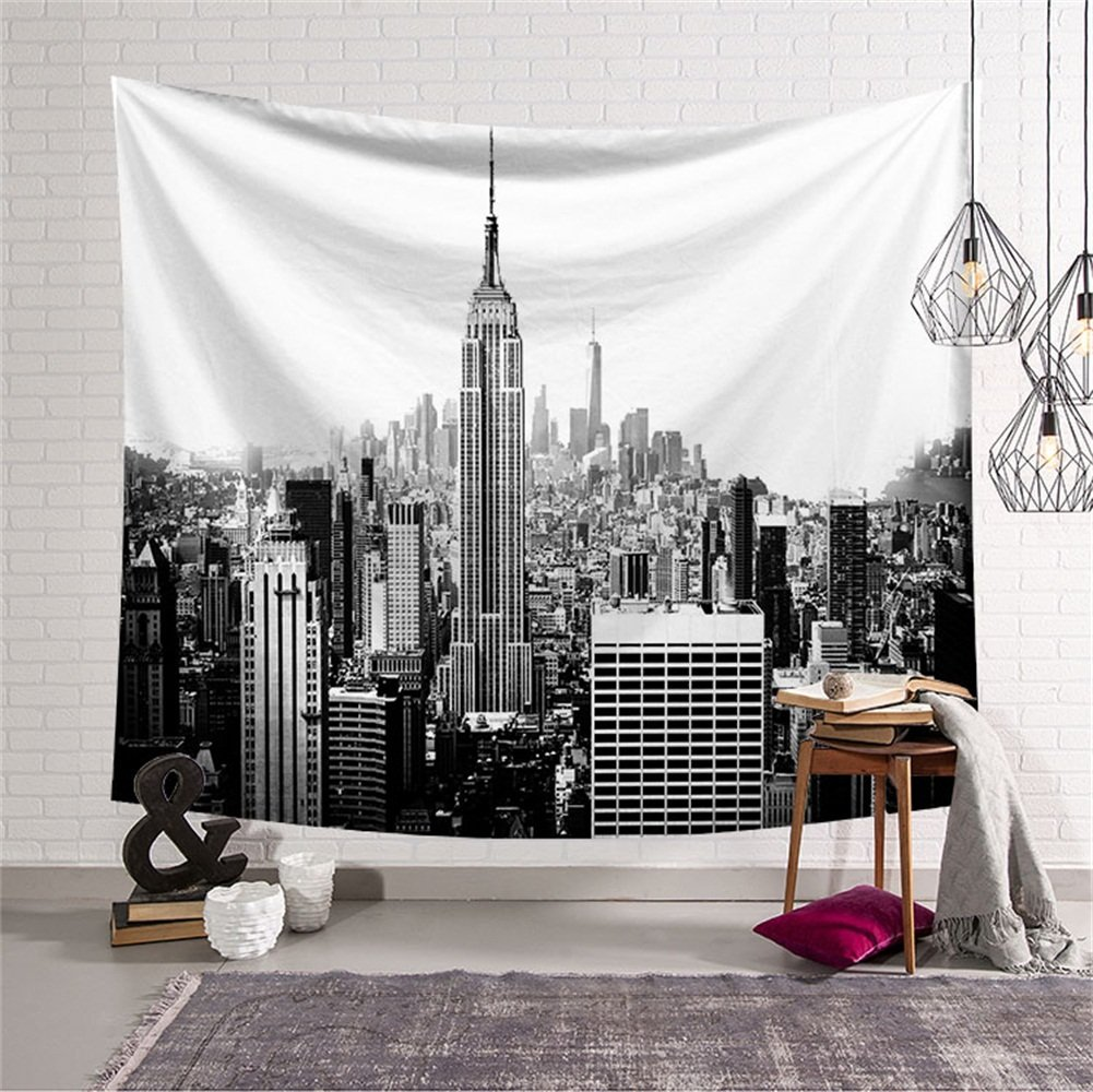 QCWN New York City Tapestry Wall Hanging,Empire State Building and College Dorm in New York City Wall Art Hanging for Bedroom Living Room Dorm 59x51Inc