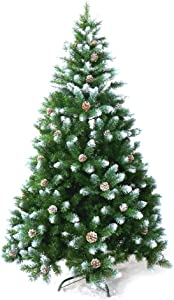ALEKO CTPC95H17 Artificial Holiday Christmas Tree Snow Dusted Premium Pine with Stand and Pine Cones 8 Foot Green and White