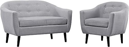 Modway MO-EEI-1770-LGR-SET Wit Mid-Century Modern, Loveseat and Armchair, Light Gray