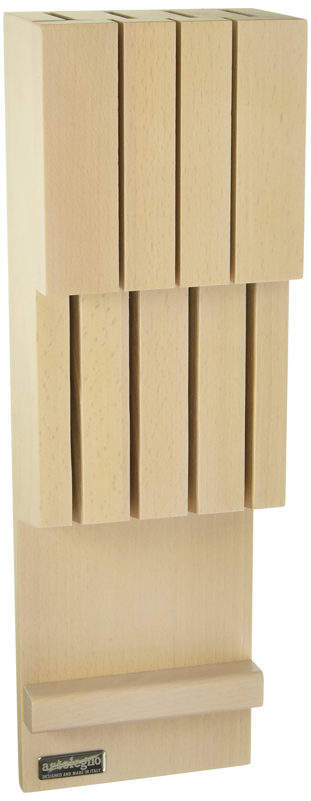 Artelegno Solid Beech Wood 7 Slot Drawer Knife Block, Luxurious Italian Collection by Master Craftsmen Stores High-End Knives Safely, Eco-friendly for Blades up to 9.6'' - Whitewashed Finish
