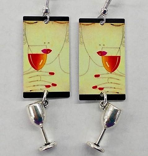 9acb0a706b9e2 Amazon.com: Retro Wine Earrings, Mixed Media, Sterling Silver Ear ...
