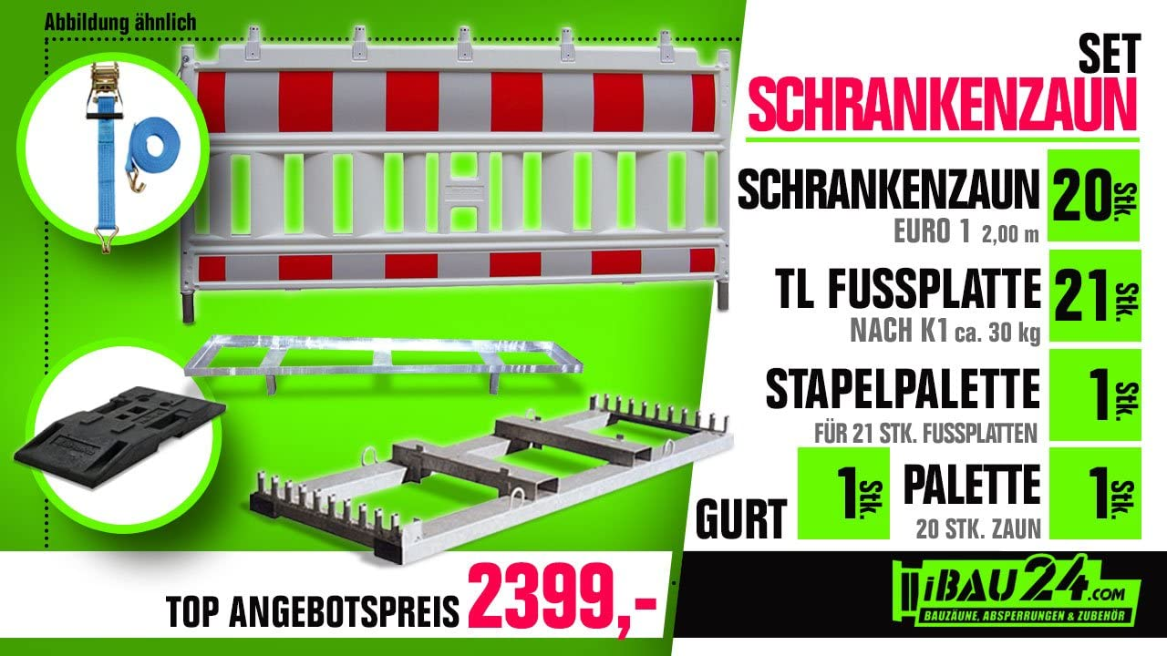 21x TL Fu/ßplatte Nach K1 Mit Stapelpalette Schrankenzaun-Set 2-20x Euro-Schrankenzaun Mit Palette 1x Gurt