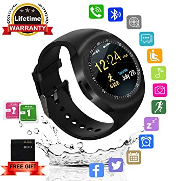 Kindak Smartwatch,Impermeable Reloj Inteligente Redondo con Sim Tarjeta Camara Whatsapp,BluetoothTactil Telefono Smart Watch Smartwatches para Android iOS ...
