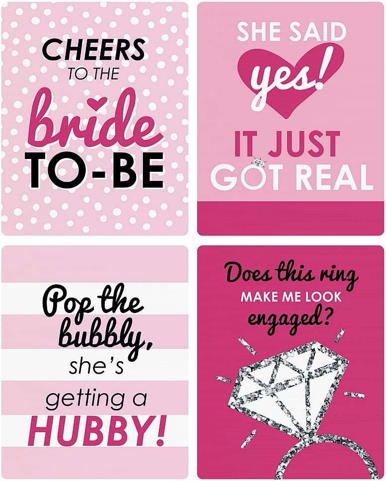 Bridal Shower /& Classy Bachelorette Party Decorations for Women Set of 4 Wine Bottle Label Stickers Bride-to-Be