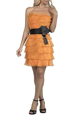 Strapless Pleated Fan Short Orange Evening Dress