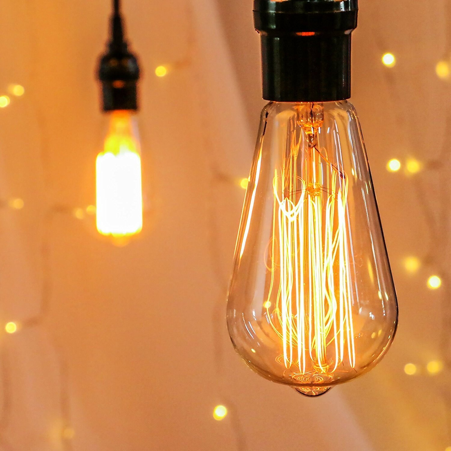 Antique Vintage 6-Pack Edison Light Bulbs - Dimmable 60watts Warm Replacement Bulbs, ST64 Squirrel Cage Filament Design E26 Base for Wall Sconces & Pendant Lights