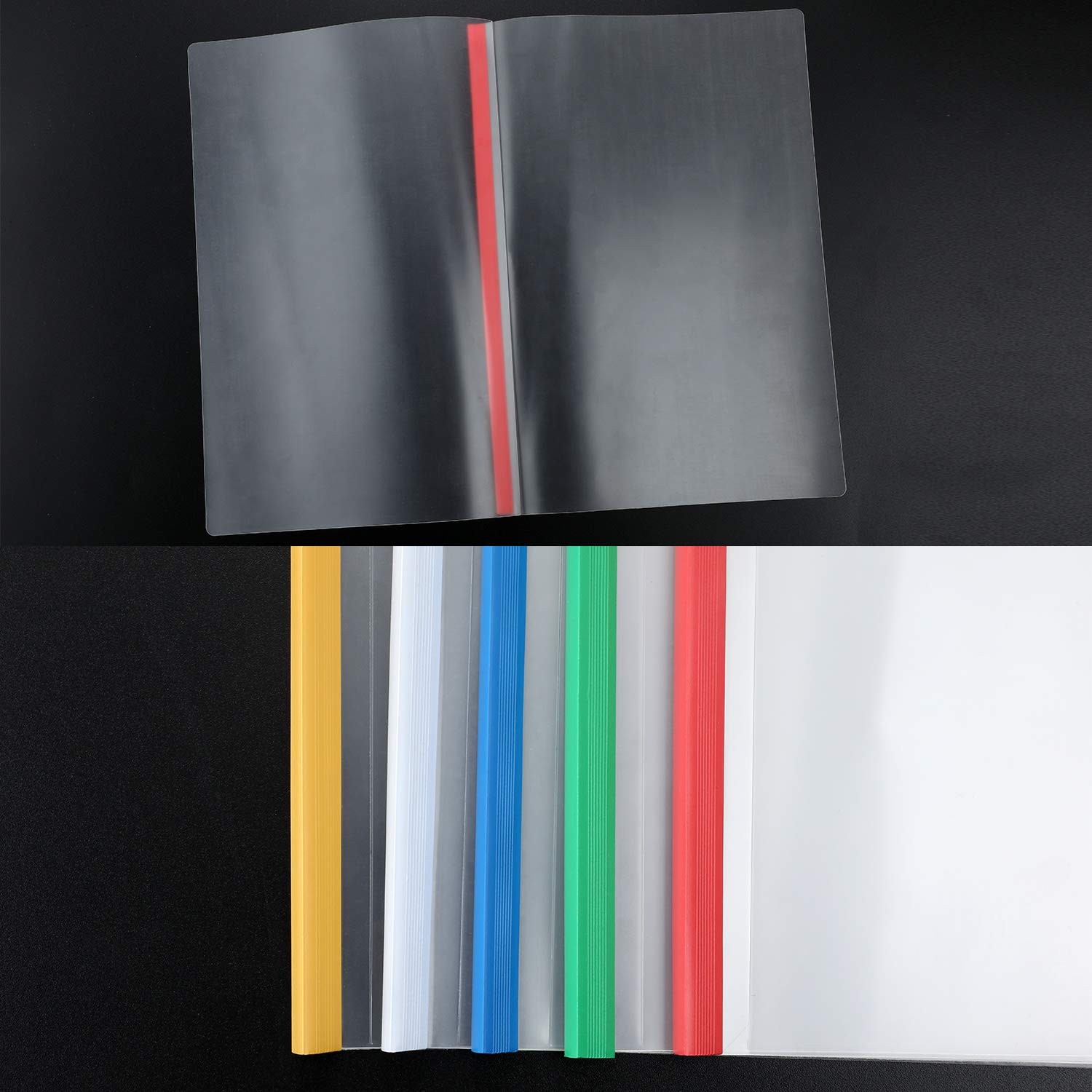 10 Pieces Binding Bars Slide Grip Binding Bars Report Cover A4 Spine Bars for School and Office 12 Inch 5 Colors 40 Sheet Capacity