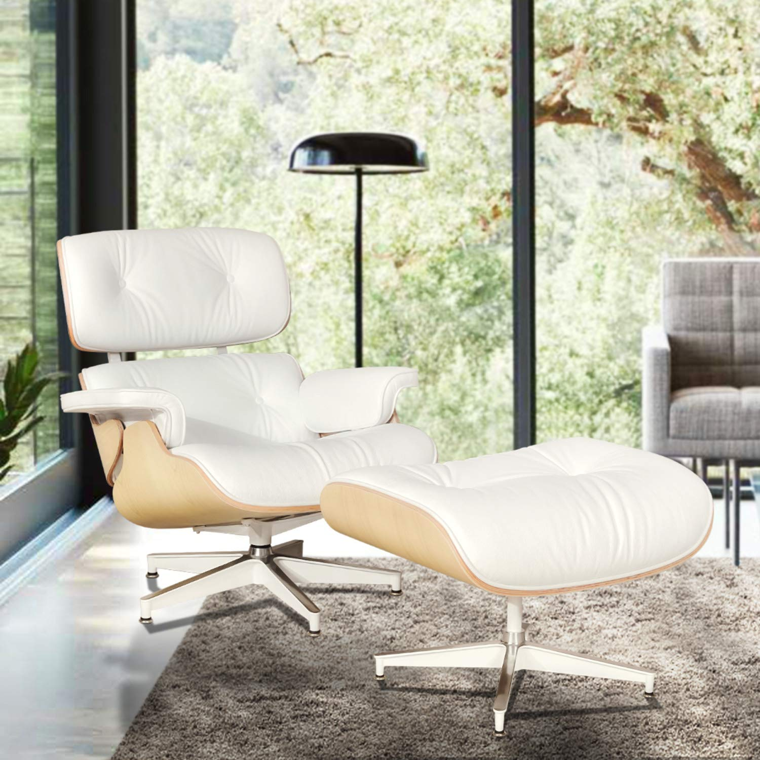 Pleasing Mid Century Modern Lounge Chair With Ottoman Mid Century Recliner Chair High Grade Leather White Solid Wood Eames Lounge Chair Replica White Ash Caraccident5 Cool Chair Designs And Ideas Caraccident5Info