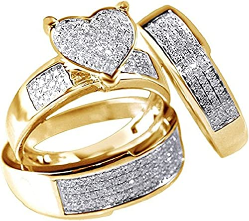 Amazon Com Nisiddh Inc White Simulated Diamond Heart Trio Wedding