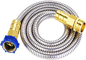 304 Stainless Steel Garden Hose-3 Feet Connector Extension,Short Metal Hose with Solid Brass Connector Metal Fittings Water Hose and Adjustable Nozzle,for Hose Reel/RV/Dehumidifier