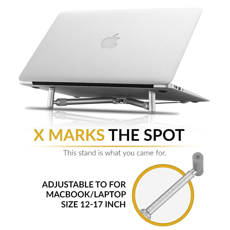 steklo - X-Stand para MacBook y PC portátil, regulable de aluminio/portátil, Enfriamiento Soporte universal para 12