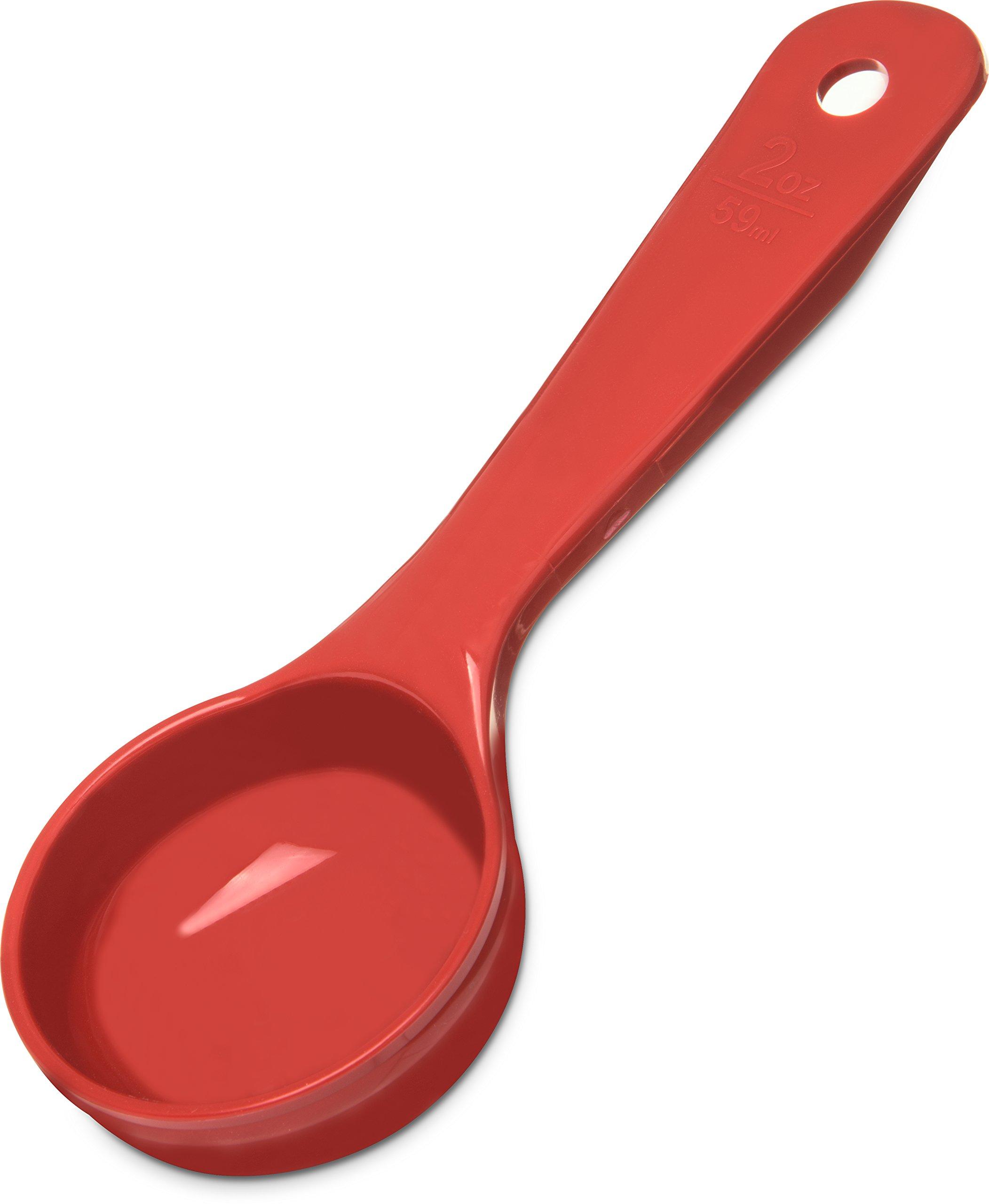 Carlisle 492405 Solid Short Handle Portion Control Spoon, 2 oz, Red