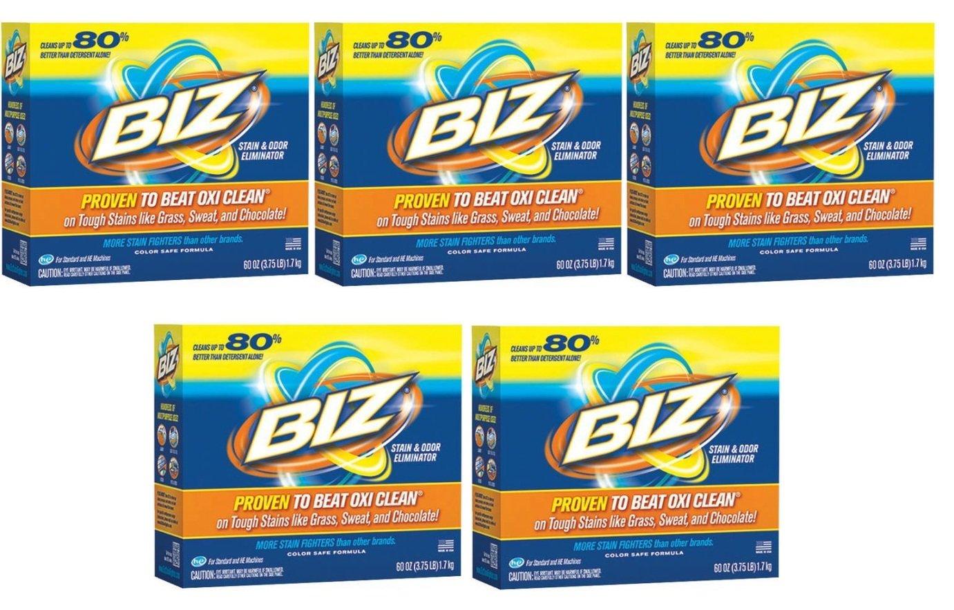 Biz Stain & Odor Eliminator Powder, 60 oz (5pack)