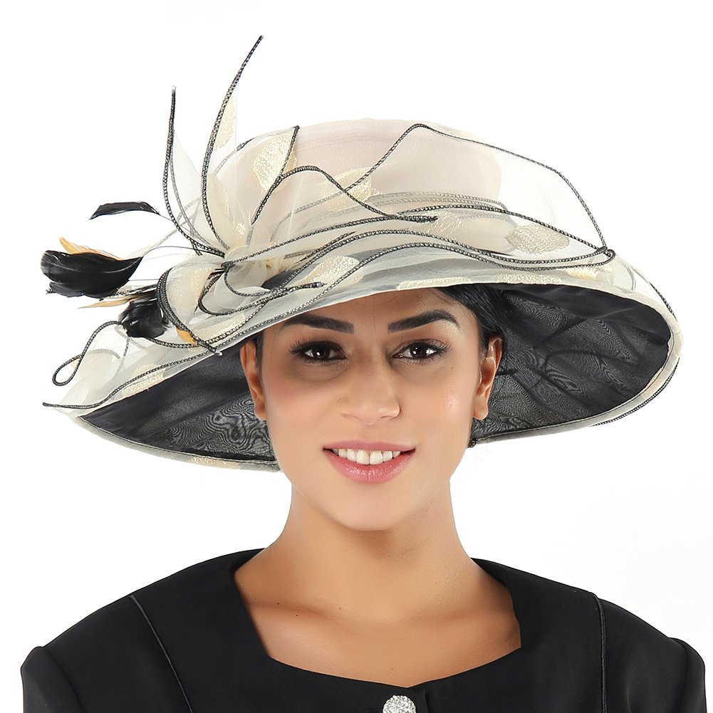 June's Young Women Race Hats Organza Hat with Ruffles Feathers Light Champagne