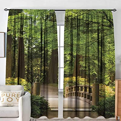 "Petpany Curtains for Living Room Japanese,Wooden Bridge Over Pond in Garden Calmness in Shadow of Trees Serenity in Nature,Green Brown,Darkening and Thermal Insulating Draperies 60""x84"": Home & Kitchen"