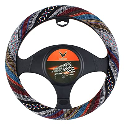 15 inch New Baja Blanket Car Steering Wheel Cover Universal Fit Most Cars Automotive Ethnic Style Coarse Flax Cloth: Automotive