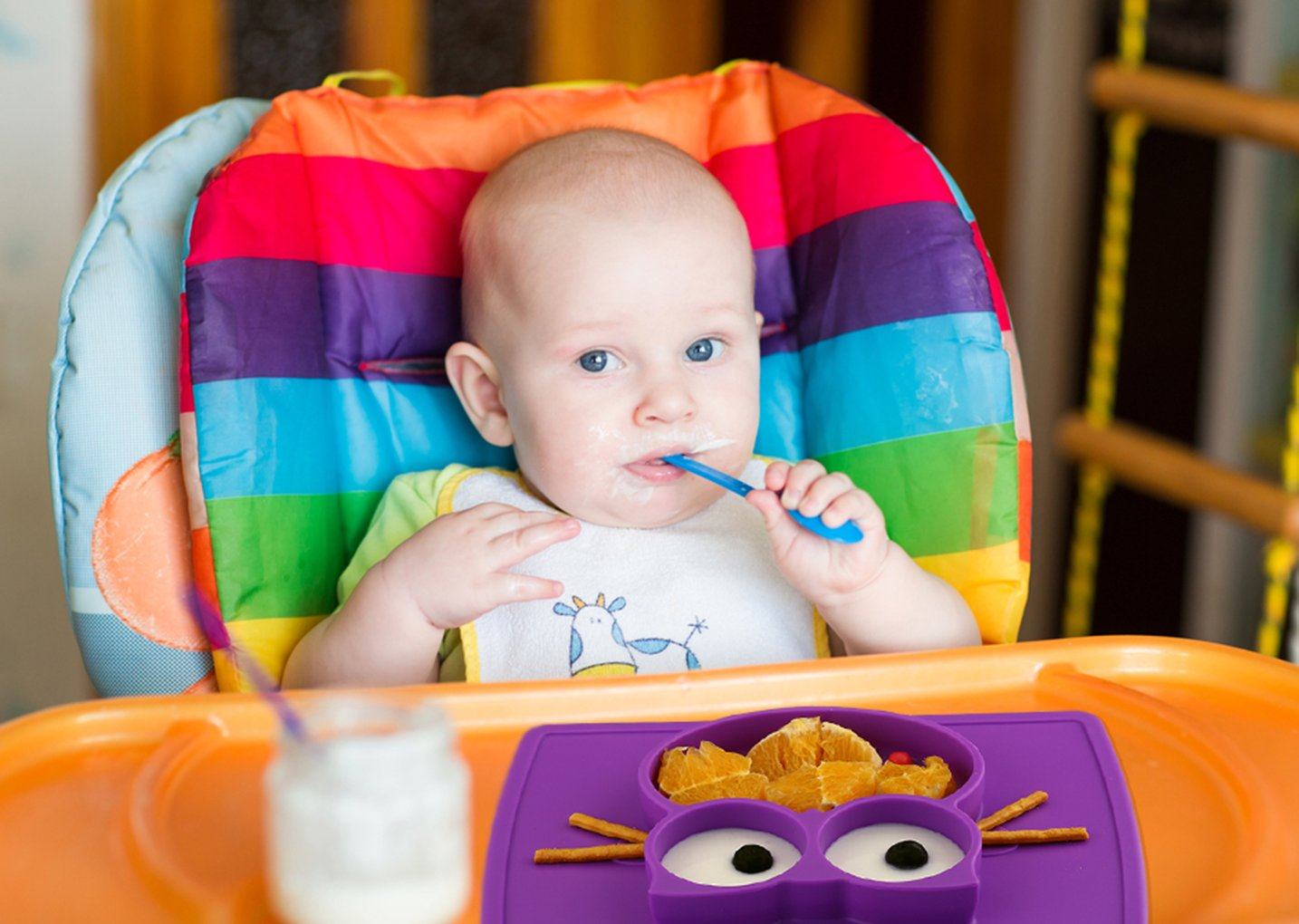 Dishwasher and Microwave Safe with Spoon Fork Baby Silicone Placemat Non-Slip Feeding Plate for Toddlers Babies Kids with Strong Suction Fits Most Highchair Trays BPA-Free FDA Approved