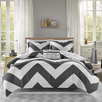 Mi Zone Libra Comforter Set Full/Queen Bedding Sets - Black , Chevron – 4  Piece Teen Bed Set – Ultra Soft Microfiber Bed Comforter