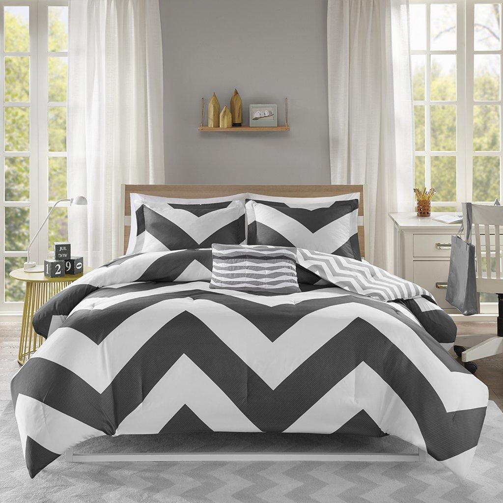 Mi Zone Libra Comforter Set Full/Queen Bedding Sets - Black , Chevron - 4 Piece Teen Bed Set - Ultra Soft Microfiber Bed Comforter