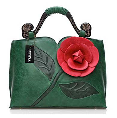 2e4c686b7f Tibes Faux Leather Floral Wedding Purse Evening Party Top Handle Handbag  Green  Handbags  Amazon.com