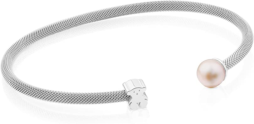 Wire Mesh Cuff Bracelet with Cultured Pearls
