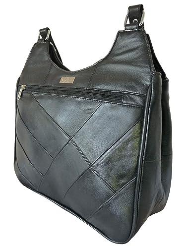 85b0c8f9098c QL966 Triple Section Cross Body Shoulder Handbag Ladies Black Soft ...