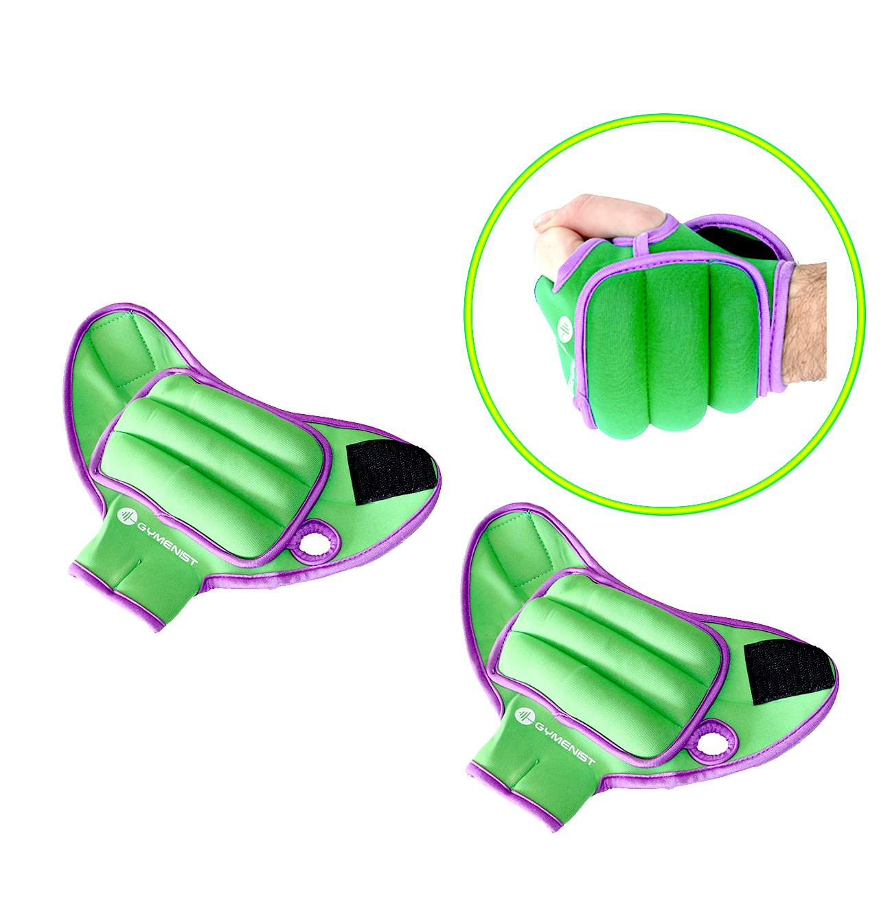 GYMENIST Pair of Glove Wrist Weights With Holes For Finger And Thumb (2 LB) by GYMENIST