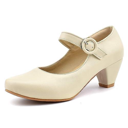 Amazon.com: 100FIXEO Mary Jane - Zapatos de tacón para mujer ...