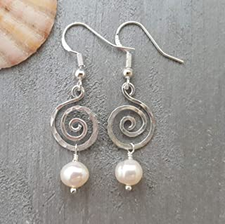 "product image for Exclusive from yinahawaii, Hammered Swirls Wire Sized Round Natural Pearl Earrings,""June Birthstone"", Birthday Gift, (Hawaii Gift Wrapped, Customizable Gift Message)"
