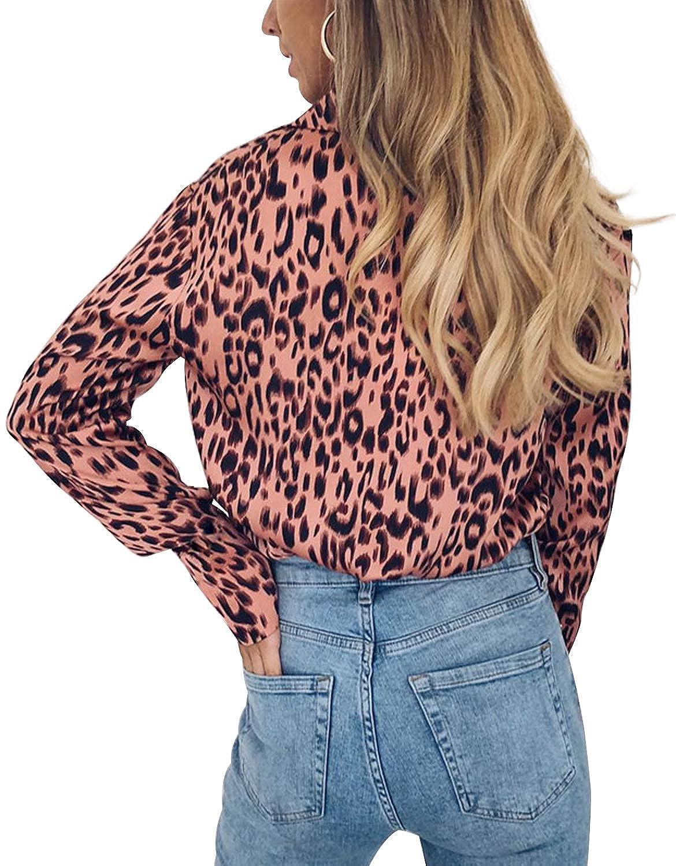 Landove Camicia Chiffon Donna Manica Lunga Stampa Leopardata