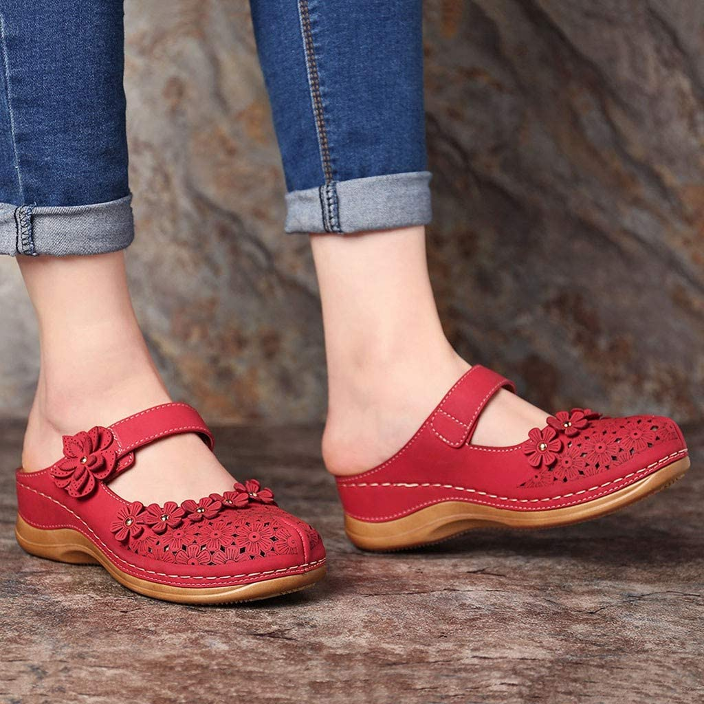 Womens Leather Clogs Slip On Respctful✿ Vintage Boho Platform Flat Sandals Mule Clogs Shoes Boho Summer Moccasins